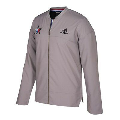 Adidas 2017 NBA All Star Official Authentic On-Court Full Zip Grey Jacket Mens
