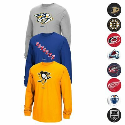 NHL Reebok Jersey Crest Team Primary Logo Long Sleeve T-Shirt Collection Mens