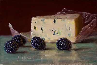 Print of food painting still life impressionism cheese blackberries 4x6 Y WANG