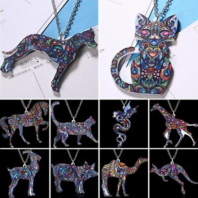 Fashion Dog Cat Animal Printing Pendant Necklace Women Jewelry Mothers Day Gift
