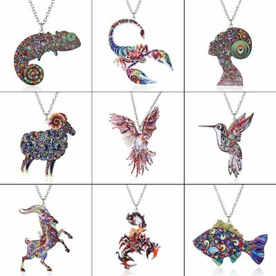 Chic Fish Bird Animal Printing Pendant Necklace Women Jewelry Mothers Day Gift