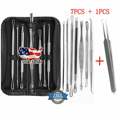 ❤️8 Pcs Blackhead Pimple Blemish Acne Extractor Remover Tool Kit Curved Tweezers