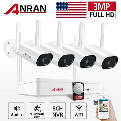 960P 4CH Wireless Security Camera System WIFI NVR Kit 7Monitor Surveillance HD