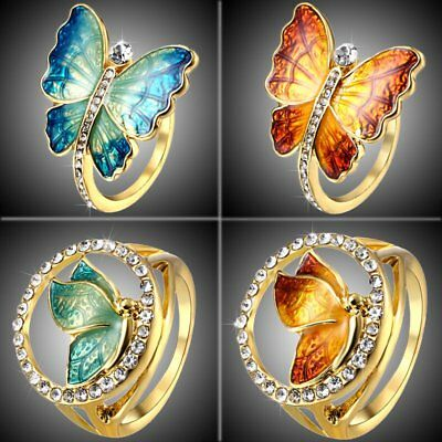 Mothers Day MOM Gift Gold Tone Crystal Butterfly Ring Women Costume Jewelry New