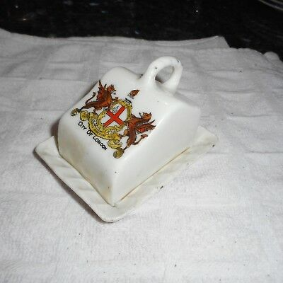 Antique Goss Crested Ware Miniature Covered Cheese Dish City of London