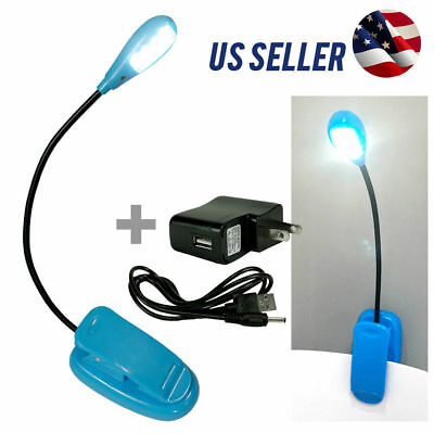 New Blue Flexible Arm Book Reading Clip-On LED Lamp Light PC Tablet Laptop