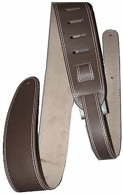 Perris Leathers Brown Leather Guitar or Bass Strap Double Stitched P25ST-174