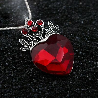 Mothers Day Evie Descendants Red Crystal Heart Crown Pendant Necklace Jewelry