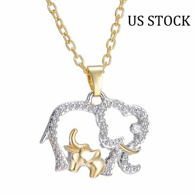 Mothers Day Gift Family Crystal Elephant Pendant Necklace Chain Women Jewelry