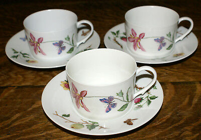 THREE Ceralene Raynaud France Limoges Mon Jardin Pattern Cups and Saucers