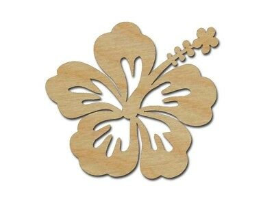 Hibiscus Flower Shape Unfinished Wood Cutout Tropical Theme Variety Of Sizes