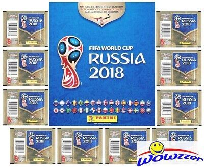 2018 Panini World Cup Russia Collector Package-10 Packs-80 Page Album-60 Sticker