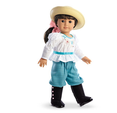 NEW American Girl Samanthas Bicycling Outfit-Bloomers Blouse Ribbon Gaiters Hat