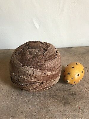 BEST HUGE Solid Early Antique Brown Homespun Ragball Textile Authentic THICK
