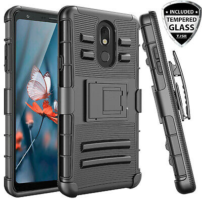 For LG Stylo 4 4 Plus Rugged Phone Case Belt Clip Holster-Black Tempered Glass