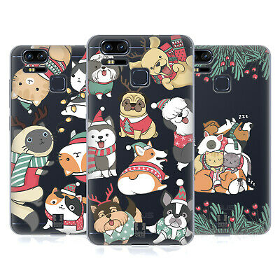 HEAD CASE DESIGNS CHRISTMAS PETS SOFT GEL CASE FOR ASUS ZENFONE PHONES