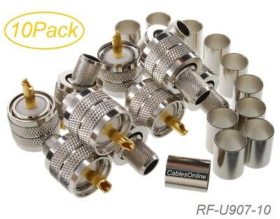 10-Pack UHF PL-259 Male Crimp Type RF Connectors for RG8RG213LMR400 Coax Wire