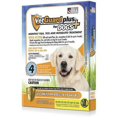 NEW VetGuard Plus® Flea Tick - Mosquito Treatments for Dogs 34-66lbs Vet Guard