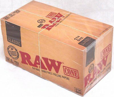 RAW Classic Pre-Rolled Cones 1 14 Rolling Papers Box 32 Packs 192 Cones Total
