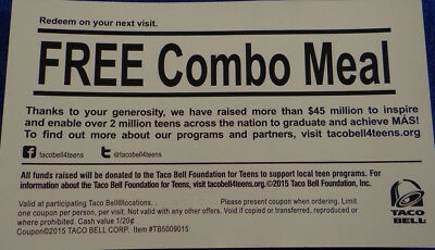 Lot of 6Taco Bell Combo Meal Vouchers Cards EXP 123118