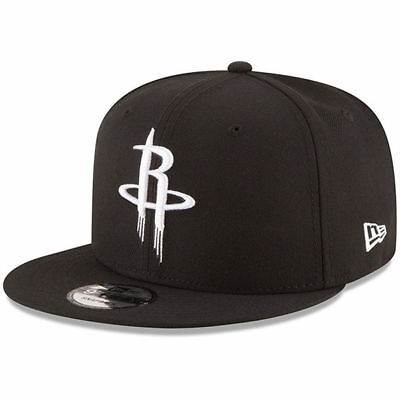 HOUSTON ROCKETS New Era Black - White 9FIFTY Adjustable Snapback Hat-Black