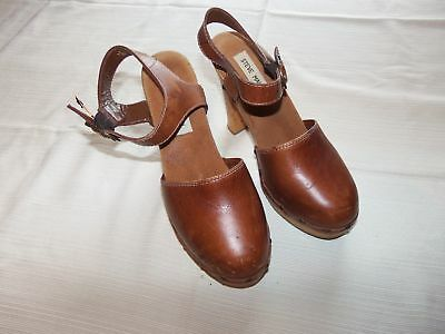 STEVE MADDEN Clog Heels 6 B Fargo Brown Leather Upper Wood Soles