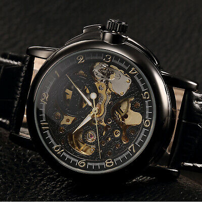 KS Mens Automatic Mechanical Black Leather Stainless Steel Luxury Wrist Watch
