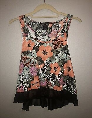 Wet Seal Long Crop Top Coral Flowers Size Medium FREE SHIPPING