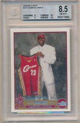 LEBRON JAMES 200304 TOPPS 221 RC ROOKIE CARD CAVALIERS SP BGS 8-5 NM-MT- 250-