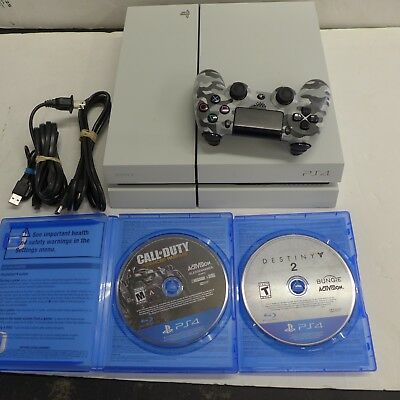 Sony PlayStation 4 WHITE Console 500GB CUH-1115A W 2 GAMES NICE