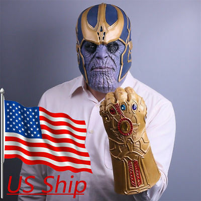 US SHIP Avengers Infinity War Thanos Gauntlet Glove AND Mask PRIORITY 2-3 SHIP