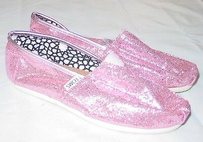 TOMS Pink Sparkle Shoes 6-5 Womens New Flats Slip On Casual