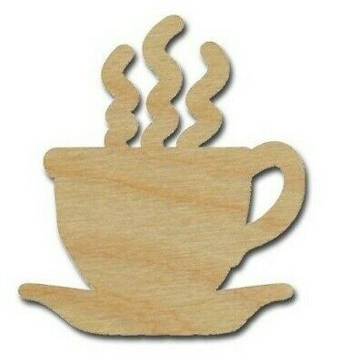 Coffee Cup Shape Unfinished Wood Cut Out Variety of Sizes