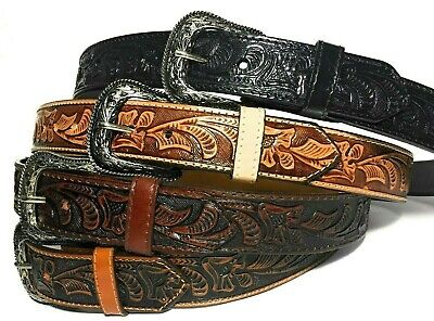 WESTERN LEATHER BELT- COWBOY RODEO CASUAL LEATHER BELT FLORAL EMBOSSED f58b13873fa