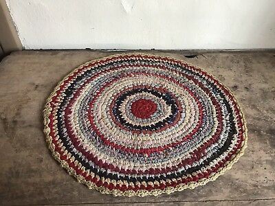 Antique Candle Mat Table Rug Handmade Round Country AAFA Textile