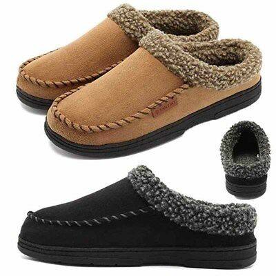 Mens Suede Casual Cotton Loafers Moccasins House Slippers Driving Warm Shoes US