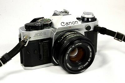 Canon AE-1 Program 35mm SLR Camera with 50mm f1-8 Lens -Very-Good Fast Shipping