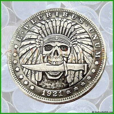 1921 Hobo Morgan Dollar Coin with Free Case - Indian Skull with Knife - Rare