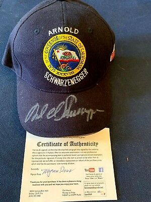 ARNOLD SCHWARZENEGGER AUTOGRAPHED GOVERNOR RARE BASEBALL STYLE UNFITTED CAP