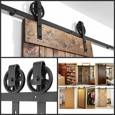 Sliding Barn Door Hardware Kit 6-6 FT Wood Modern Hang Style Track Rail Set Pack