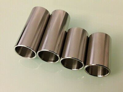 4 GUITAR SLIDES DELUXE 22mm Chrome Steel for Finger and Knuckle