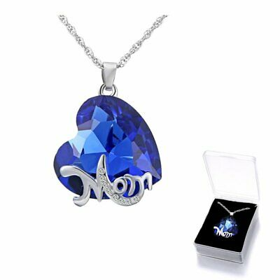 Charm Crystal Rhinestone Mom Heart Pendant Necklace Mothers Day Jewelry Gift