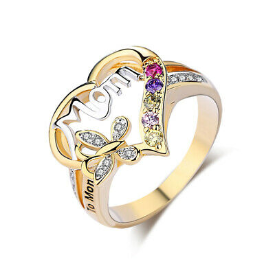 Mothers Day Jewelry Gifts Yellow Gold Heart Mom Ring Inscribed To Mom With Love