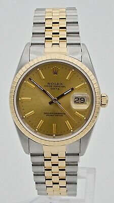 Rolex Date 15223 Two-Tone Steel - 18kt Yellow Gold Mens Watch w Box -  Paper