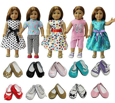Lot 5 Sets Dress Clothes Shirt - Pants For 18 inch Girl Doll - 2 Pairs Shoes US