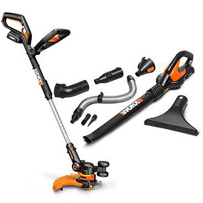 WORX WG951-5 20V Cordless 3-in-1 Grass Trimmer - Air Blower Combo w 2 Batteries