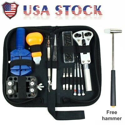 13Pc Watch Battery Change Repair Tool Band Pin Remover Back Case Opener Kit US