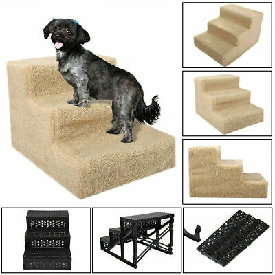 Beige Pet Stairs 3 Steps Indoor Ramp Portable Dog Cat Ladder with Washable Cover