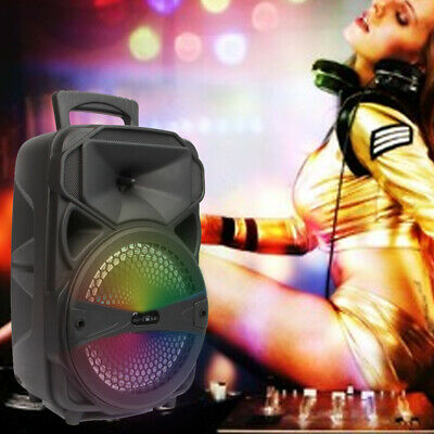 8 Portable FM Bluetooth Party Speaker Subwoofer Heavy Bass Sound System