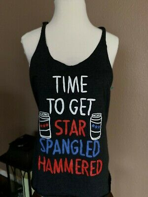 Fourth Of July Let's Get Star Spangled Hammered Ladies Racerback Tank Sz- Large